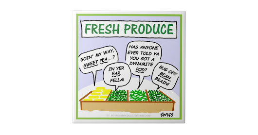 Fresh Vegetables Humorous Cartoon Kitchen Tile