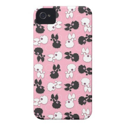 Poodle Cuties on Pink Barely There ID iPhone4 Case-Mate iPhone 4 Case