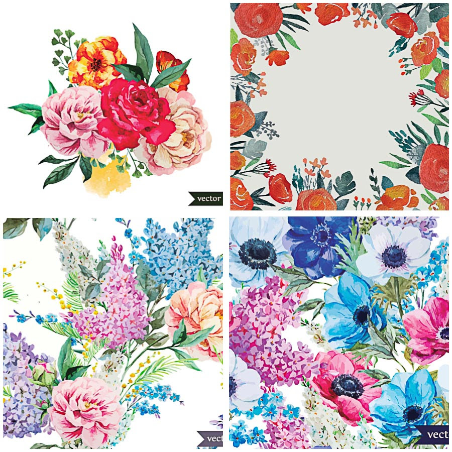 Hand painted floral set vector   Free download