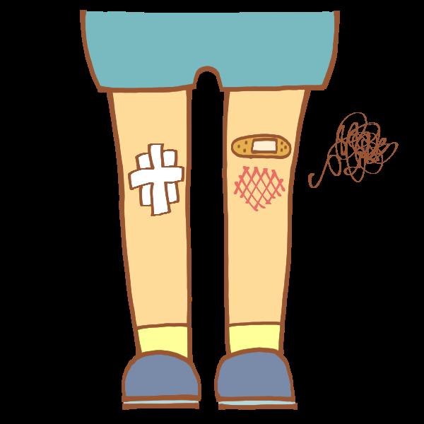ひざの怪我のイラスト かわいいフリー素材が無料のイラストレイン