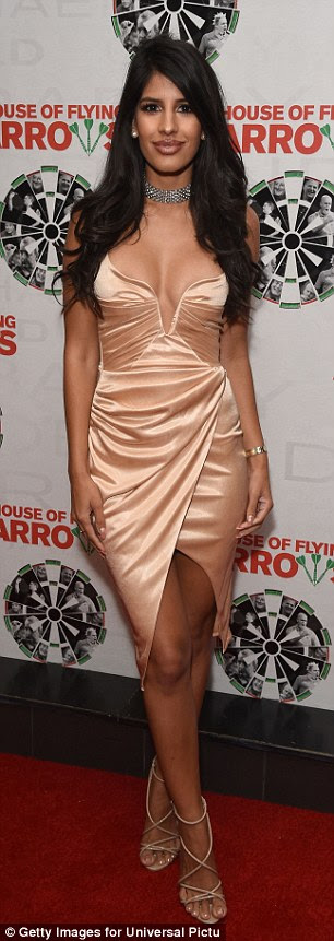 Brunette beauty: Jasmin Walia was piling on the glamour once again when she attended a screening of House of Flying Arrows in London on Monday