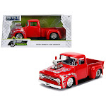 Jada 30715 1956 Ford F-100 Pickup Truck with Blower Glossy Red with Flames Just Trucks Series 1-24 Diecast Model Car