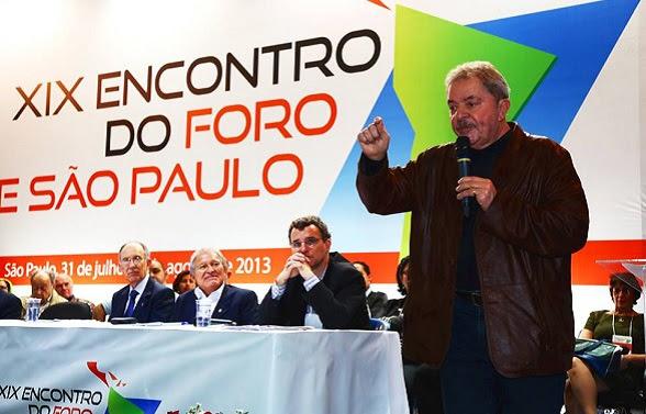 Lulla Da Silva, co-fundador del Foro de Sao Paulo, en la reunión de 2013