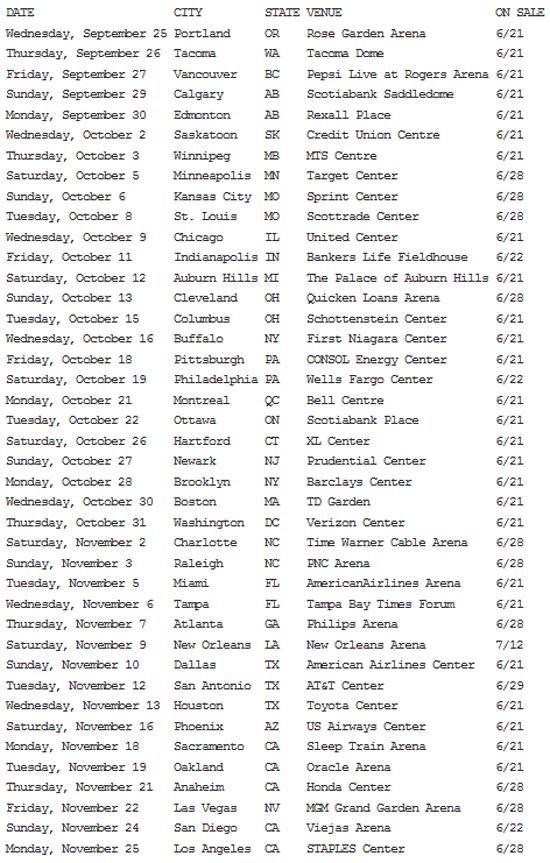 Drake : Would You Like a Tour? photo drake-tour-dates.png