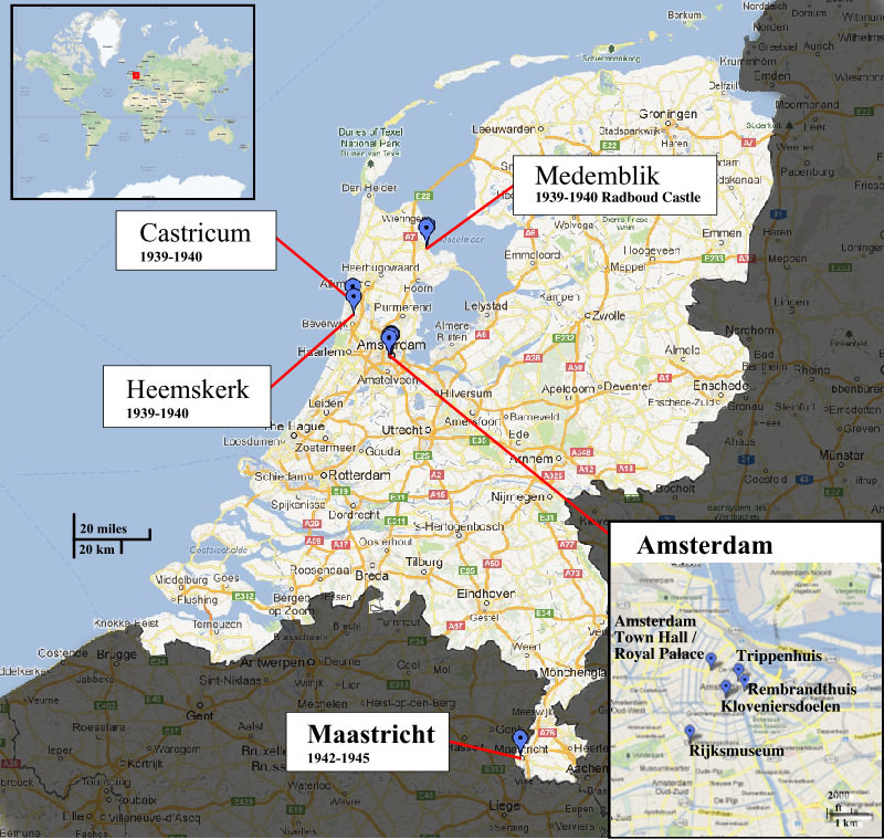 Map showing where the Rembrandt painting Night Watch has been.