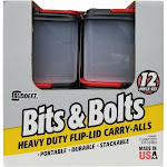 Buddeez Bits & Bolts Heavy Duty Flip-Lid Carry-All Container Bins 12pc Set