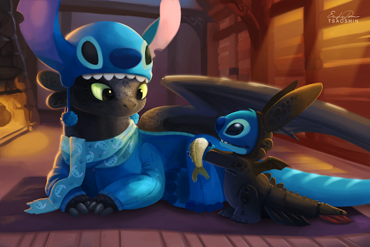 When Toothless And Stitch Have Sleepovers, They Dress Up As Each Other