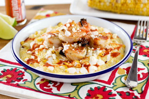 Elotes Grits with Chili Lime Shrimp