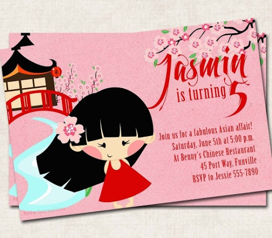 Asian Birthday Party Invitation pink red by missbellaexpressions