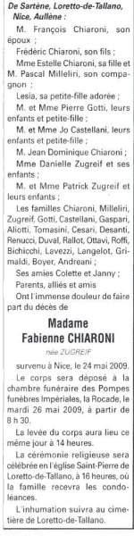 Décès Chiaroni Fabienne