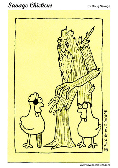 The Pirate and the Ent Cartoon | Savage Chickens - Cartoons on Sticky Notes by Doug Savage