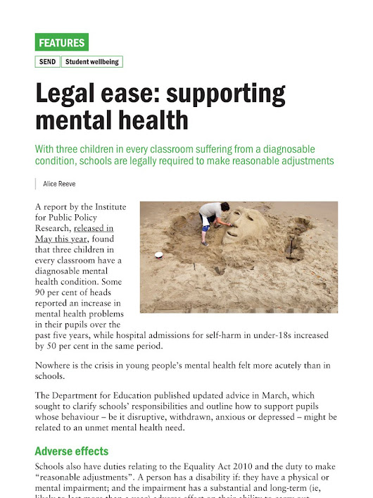 "Jon Severs on Twitter: ""What legal responsibility is there on schools for mental health? Find out in @tes """