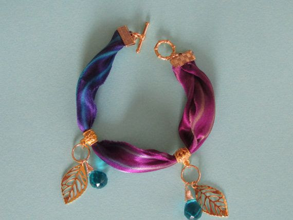 Purple / Blue Dyed Shibori Silk Ribbon Bracelet with Gold Leaves and Blue Glass Briolettes / Ocean Inspired Jewelry