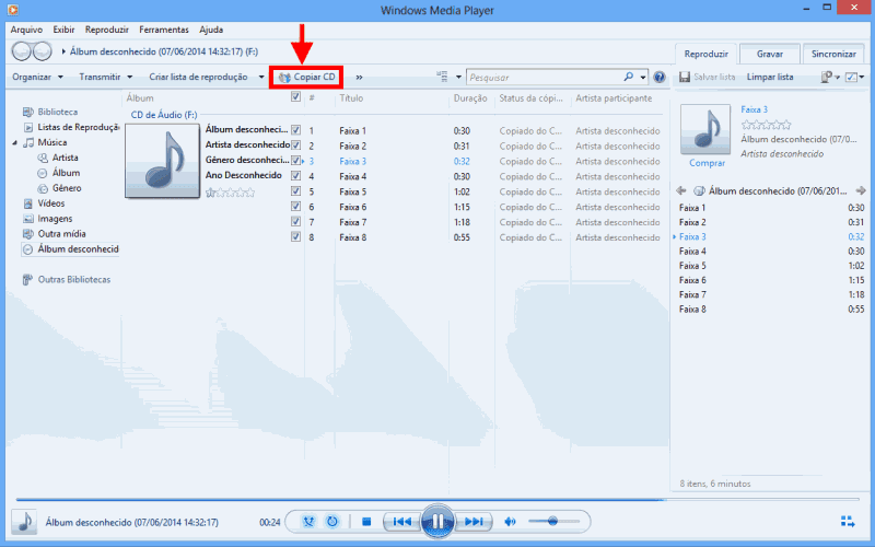 copiar CD no Windows Media Player