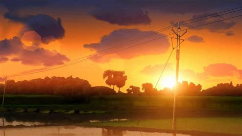 sunset   anime style landscape animation youtube