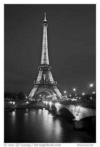 Black And White Picturephoto Seine River Iena Bridge And