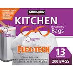 Kirkland Signature Flex-Tech 13-Gallon Kitchen Trash Bag, 200-count