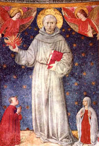 St. Anthony preparing to throw heavenly fire at the enemies of the Church