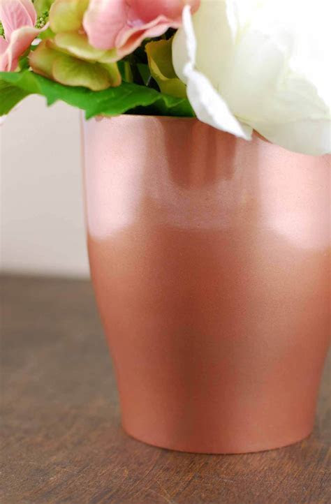Rose Gold Metal Pot Vase 4.75in