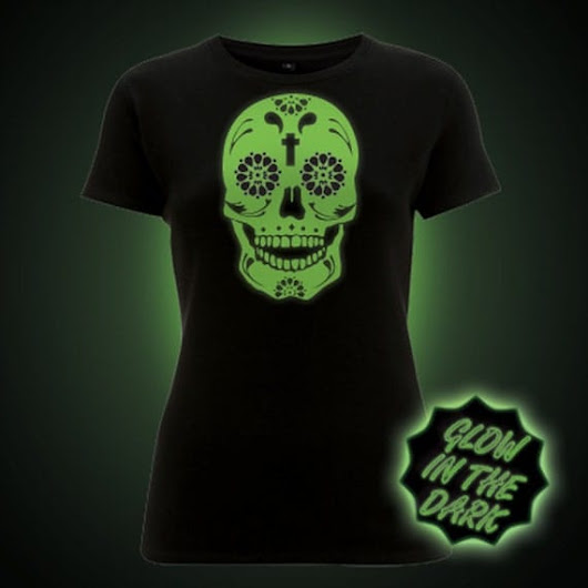 Sugar Skull Glow in the Dark Tshirt Women's Fit by BlockClothing