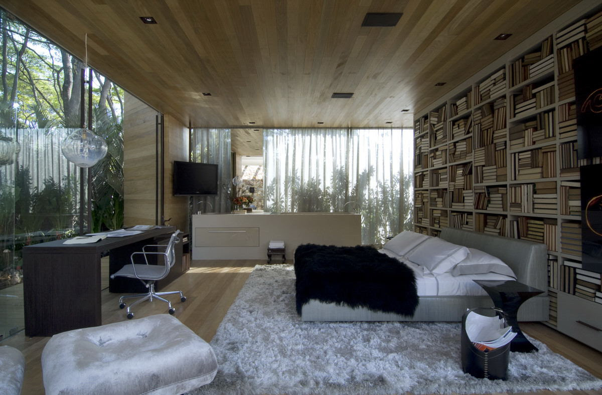 Bedroom With Glass Walls And Wood Ceiling Interior Design Ideas