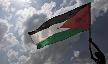 The Palestinian flag being waved during a demonstration in the West Bank village of Bilin