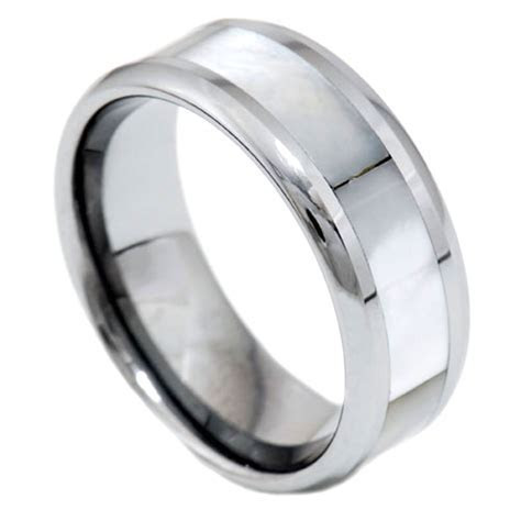 8mm Mother of Pearl Inlay Tungsten Carbide Round Edge Band