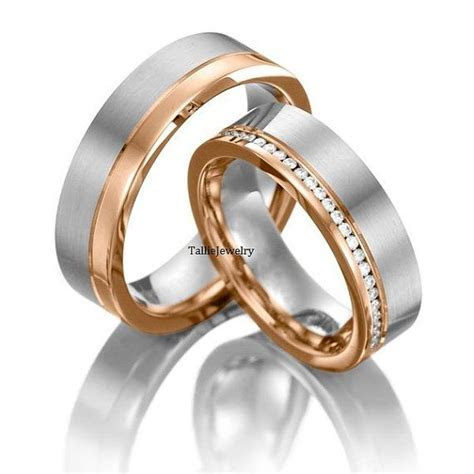 His & Hers Wedding Rings,10K,14K White and Rose Gold