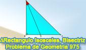 Problema de Geometría 975 (English ESL): Triangulo Rectángulo Isósceles, Bisectriz Interior, Hipotenusa