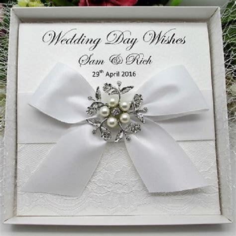 PERSONALISED BOXED LUXURY WEDDING CARD   LACE HANDMADE