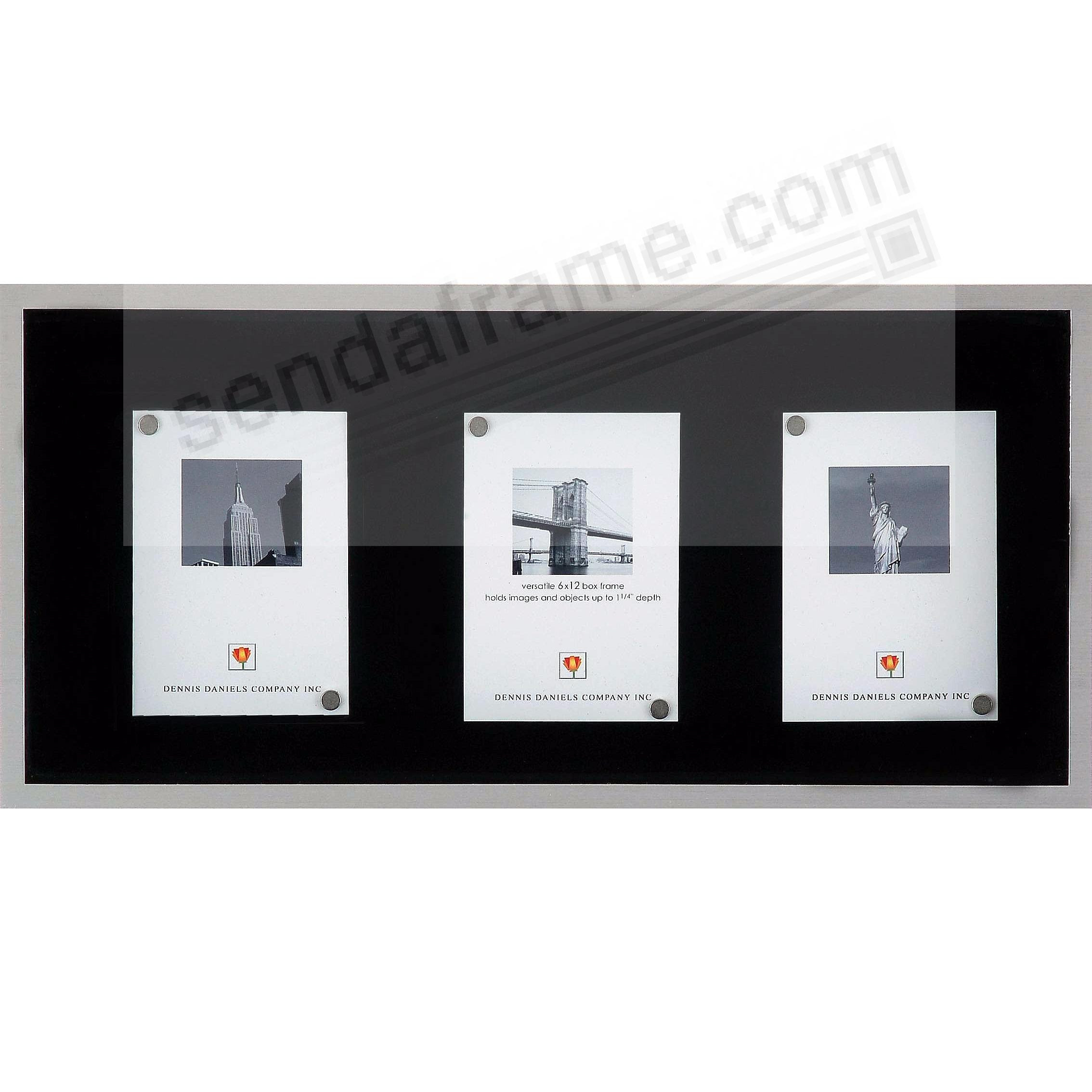 Brushed Aluminum 6x12 Metro Shadow Box Picture Frames Photo