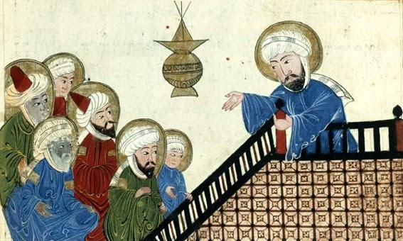 Mahomet prêchant, illustration ottomane (XVIIe s.) du livre d'Al-Biruni, Vestiges des siècles passés, Paris, BnF