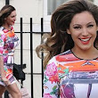Body con-fident! Kelly Brook heads off to film Celebrity Juice in skintight print dress and bright pink stilettos