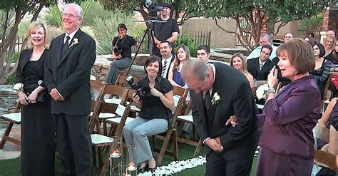 Bride And Groom Go To Say Their Vows When Priest Tells