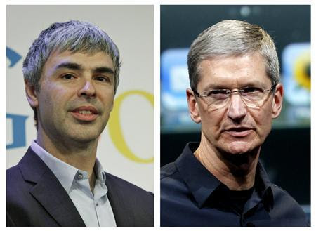 Une photo montrant Combinaison PDG de Google, Larry Page (L), à New York, dans ce 21 mai 2012 et le fichier photo PDG d'Apple Tim Cook à Cupertino, en Californie, dans ce 4 Octobre 2011 Photo fichier.  REUTERS / Files