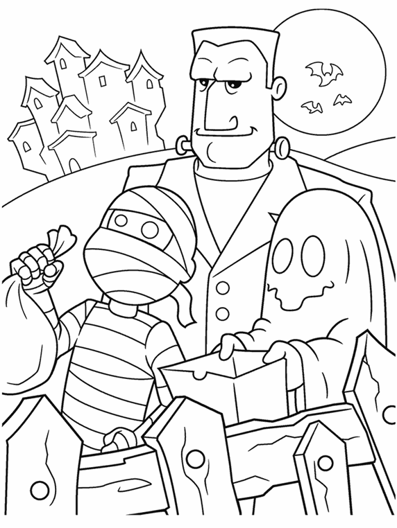 Halloween Trick-or-Treaters Coloring Page | crayola.com