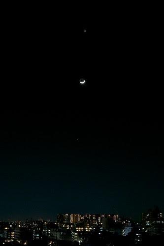 金星・月・木星 がきれいに並んだ日