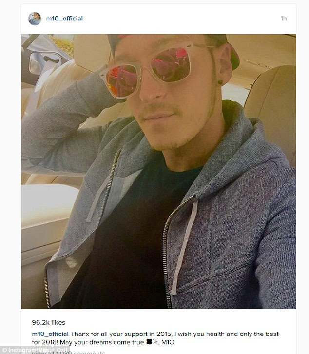 Arsenal star Mesut Ozil wished all his supporters all the best for a successful 2016 on Instagram