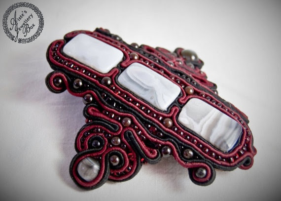 "OOAK Soutache jewelry hair clip ""Red Wine"""