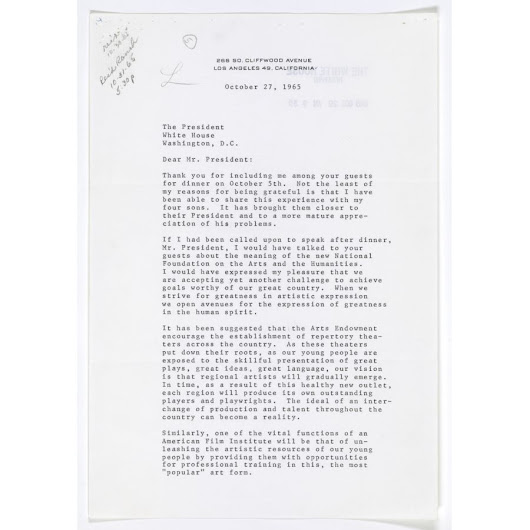 Letter from Gregory Peck to President Lyndon B. Johnson | DocsTeach