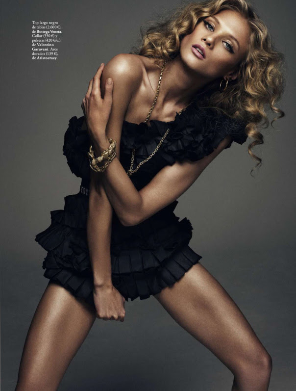 Anna Selezneva by Xavi Gordo for  Elle Spain March 2014 - Rock & Sexy