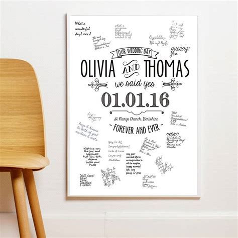 personalised guestbook wedding poster. three sizes by i