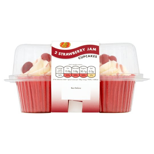 Jelly Belly Strawberry Jam Vanilla Cupcakes 2 Pack