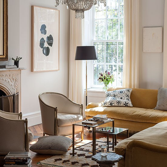 Neutral living room with yellow sofas | Decorating ...