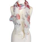 Alirina Women's Laies Fshion Long Floral Ruffle Silk Scarf Neck Scarves Shawl Wrap - White