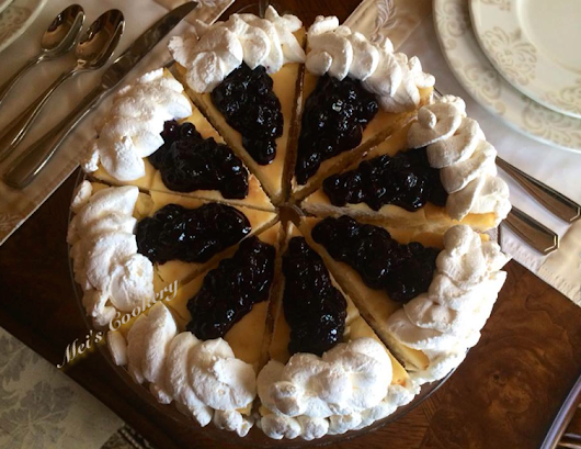 Sugar-Free Italian Cheesecake with Blueberry Toppings and Whipped Cream Frosting