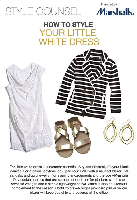 The little white dress is a summer essential. Airy and ethereal, it's your blank canvas. For a casual daytime look, pair your LWD with a nautical blazer, flat sandals, and gold jewelry. - How To Style Your Little White Dress