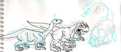 """Therizinosaurs Through the Years"" inking"
