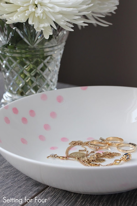 Painted Confetti Pattern Bowl - DIY Decor Hack - Setting for Four