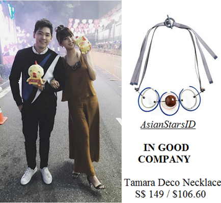 IG - Carrie Wong: IN GOOD COMPANY Tamara Deco Necklace S$ 149 / $106.60 - AsianStarsID